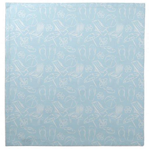 Modelo azul de la playa servilletas imprimidas