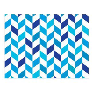 Modelo azul de la raspa de arenque de la tarjetas postales