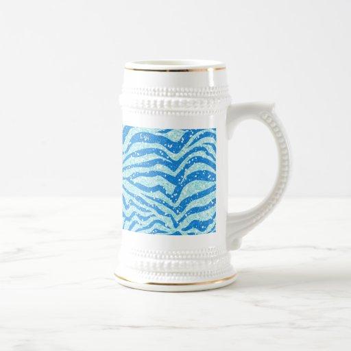 Modelo azul de la raya de la cebra de la impresión tazas de café
