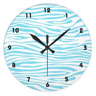 Modelo azul de la raya de la cebra reloj redondo grande