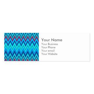 Modelo azul de la raya del zigzag de Ikat Chevron Tarjetas De Visita Mini