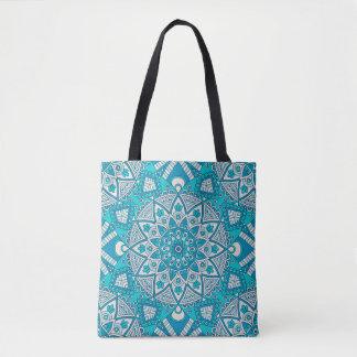 Modelo azul de la teja de la mandala bolsa de tela