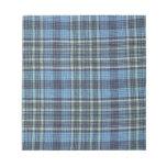 Modelo azul de la tela escocesa blocs de notas