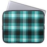 Modelo azul de la tela escocesa funda portátil