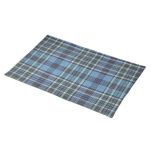 Modelo azul de la tela escocesa mantel