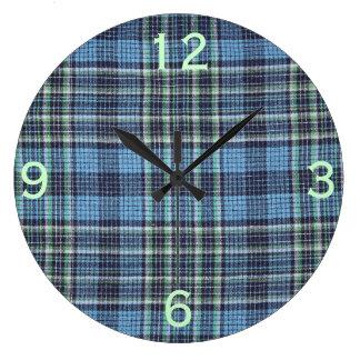 Modelo azul de la tela escocesa reloj redondo grande