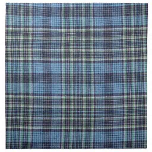 Modelo azul de la tela escocesa servilletas imprimidas