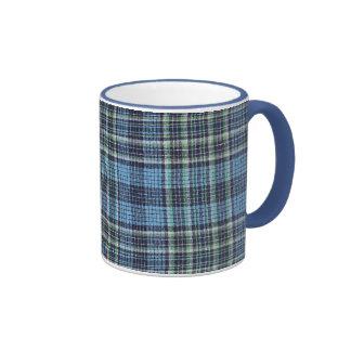 Modelo azul de la tela escocesa tazas de café