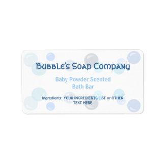 Modelo azul de las burbujas en la etiqueta blanca etiqueta de dirección