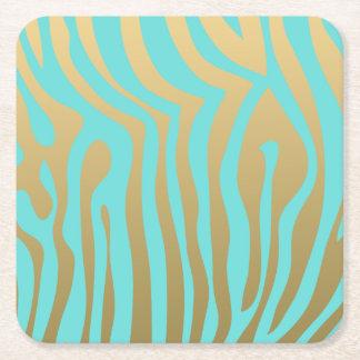 Modelo azul de las rayas del oro y de la cebra de posavasos personalizable cuadrado