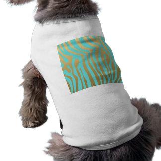 Modelo azul de las rayas del oro y de la cebra de camiseta sin mangas para perro