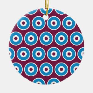 Modelo azul de los círculos concéntricos del adorno redondo de cerámica