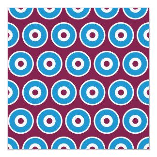 """Modelo azul de los círculos concéntricos del invitación 5.25"""" x 5.25"""""""
