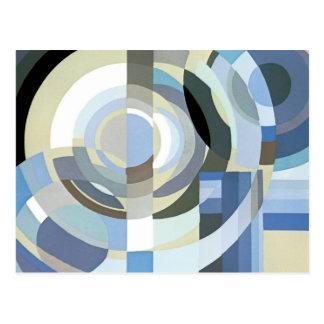 Modelo azul de los círculos del art déco del tarjetas postales