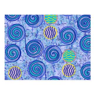 Modelo azul de los círculos del teñido anudado postal