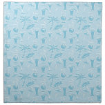 Modelo azul de los cócteles y de las palmeras servilleta de papel
