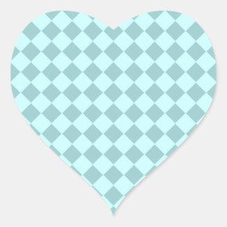 Modelo azul de los cuadrados pegatina corazon