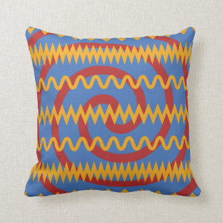 Modelo azul de los remolinos del naranja de la div almohada