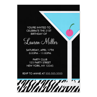 """Modelo azul de Martini y de la cebra Invitación 5"""" X 7"""""""
