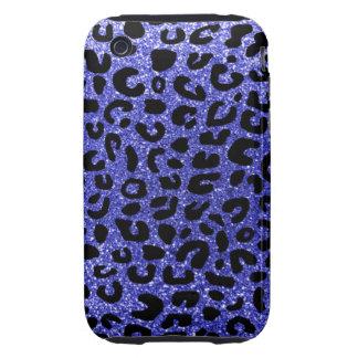 Modelo azul de neón de la impresión del guepardo iPhone 3 tough cárcasas