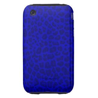 Modelo azul de neón del estampado leopardo iPhone 3 tough funda