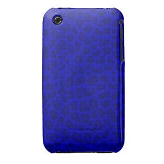 Modelo azul de neón del estampado leopardo Case-Mate iPhone 3 carcasas