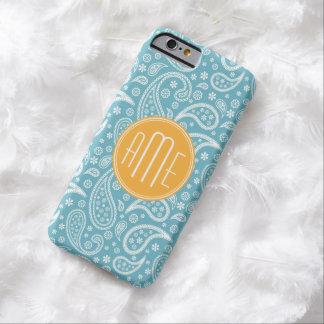 Modelo azul de Paisley de la aguamarina floral y Funda De iPhone 6 Barely There