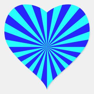 Modelo azul de Starburst de la aguamarina Pegatina En Forma De Corazón