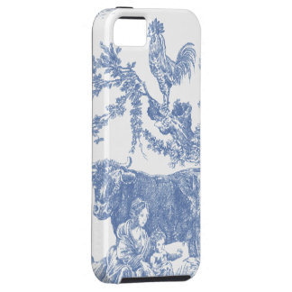 Modelo azul de Toile del vintage - vaca y lista iPhone 5 Cárcasa