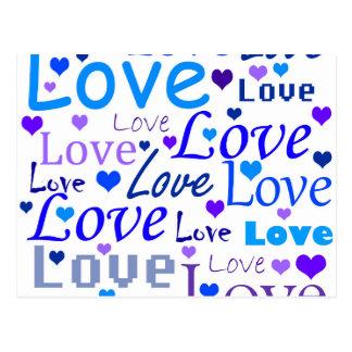 Modelo azul del amor postales