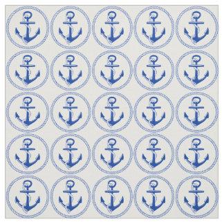 Modelo azul del ancla del barco de la nave del mar telas