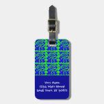 Modelo azul del animal de la verde lima del mono l etiqueta de maleta