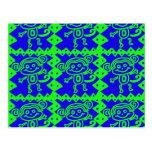 Modelo azul del animal de la verde lima del mono l tarjeta postal