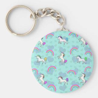 Modelo azul del arco iris y de los unicornios llavero redondo tipo pin