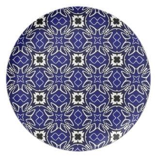 Modelo azul del arte gráfico plato de cena