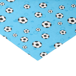 Modelo azul del balón de fútbol papel de seda pequeño