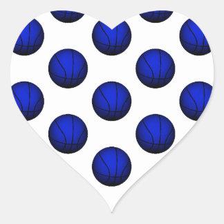 Modelo azul del baloncesto calcomanías corazones personalizadas