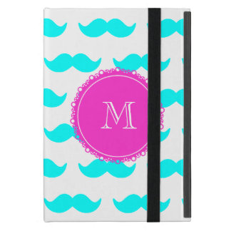 Modelo azul del bigote de la aguamarina, monograma iPad mini coberturas