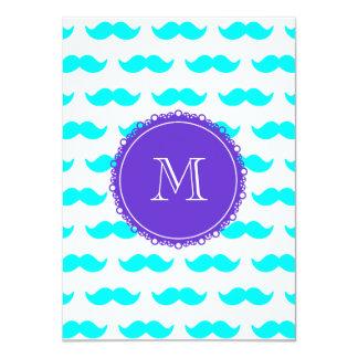 Modelo azul del bigote de la aguamarina, monograma invitación 11,4 x 15,8 cm