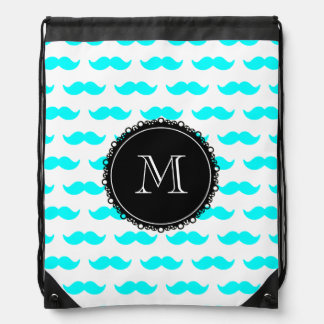 Modelo azul del bigote de la aguamarina, monograma mochilas