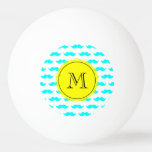 Modelo azul del bigote de la aguamarina, monograma pelota de ping pong