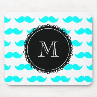 Modelo azul del bigote de la aguamarina, monograma tapete de ratón