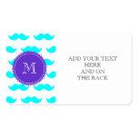 Modelo azul del bigote de la aguamarina, monograma plantillas de tarjetas de visita