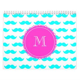 Modelo azul del bigote de la aguamarina, monograma calendarios de pared