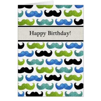 Modelo azul del bigote - feliz cumpleaños para él tarjetón
