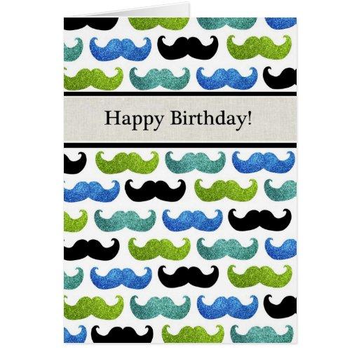 Modelo azul del bigote - feliz cumpleaños para él tarjeta de felicitación