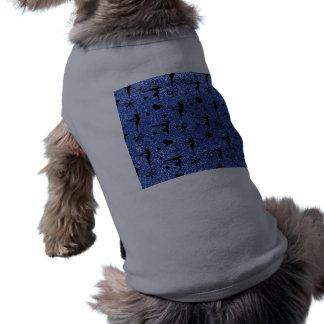 Modelo azul del brillo de la gimnasia playera sin mangas para perro