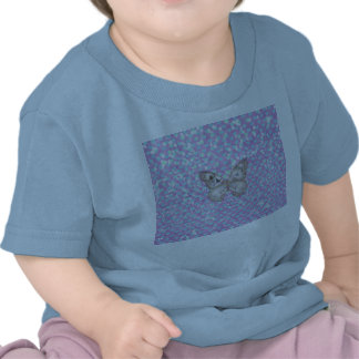Modelo azul del brillo de los corazones de la mari camiseta