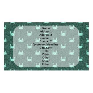 Modelo azul del cangrejo verde tarjetas de visita