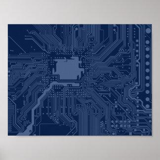 Modelo azul del circuito de la placa madre del póster